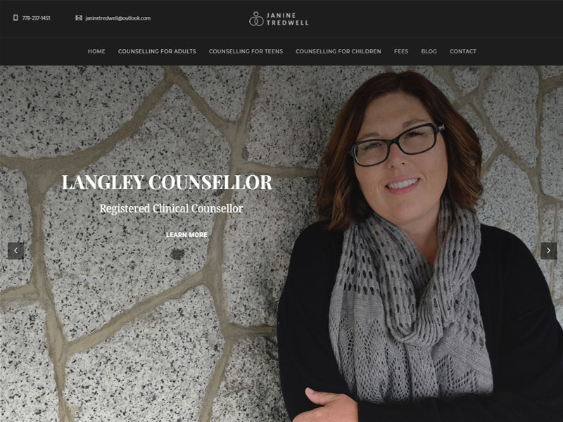 Langley web design example for counsellor