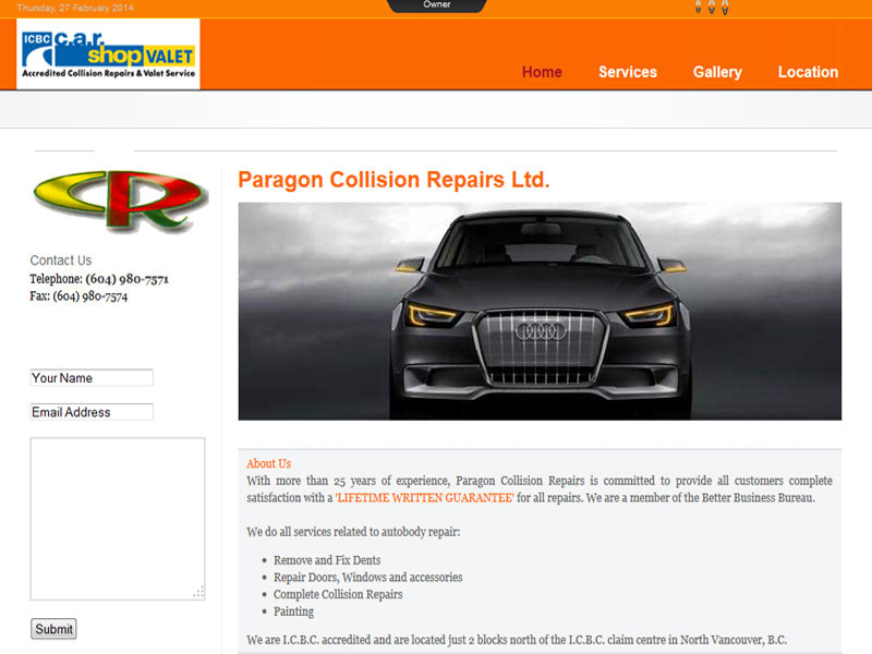 North Vancouver web design example for autobody shop