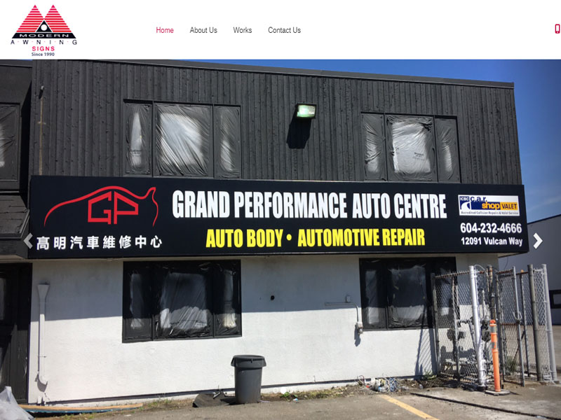 Richmond web design example for awning company