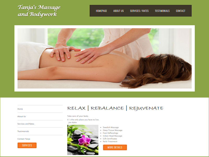 Vancouver massage web design example